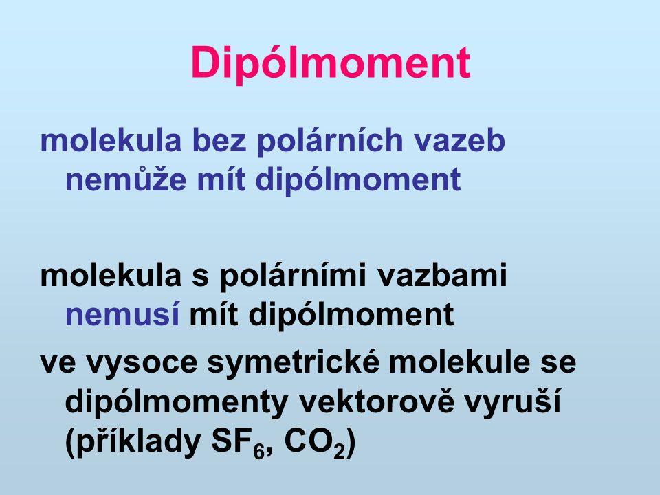 Dipólmoment molekula bez polárních vazeb nemůže mít dipólmoment