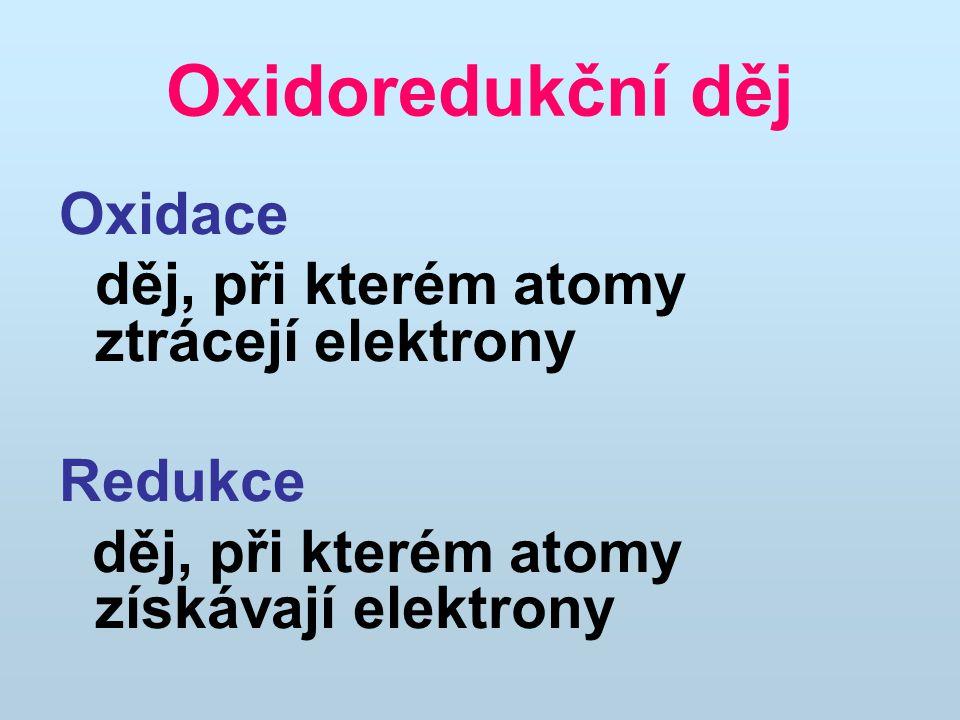 Oxidoredukční děj Oxidace děj, při kterém atomy ztrácejí elektrony