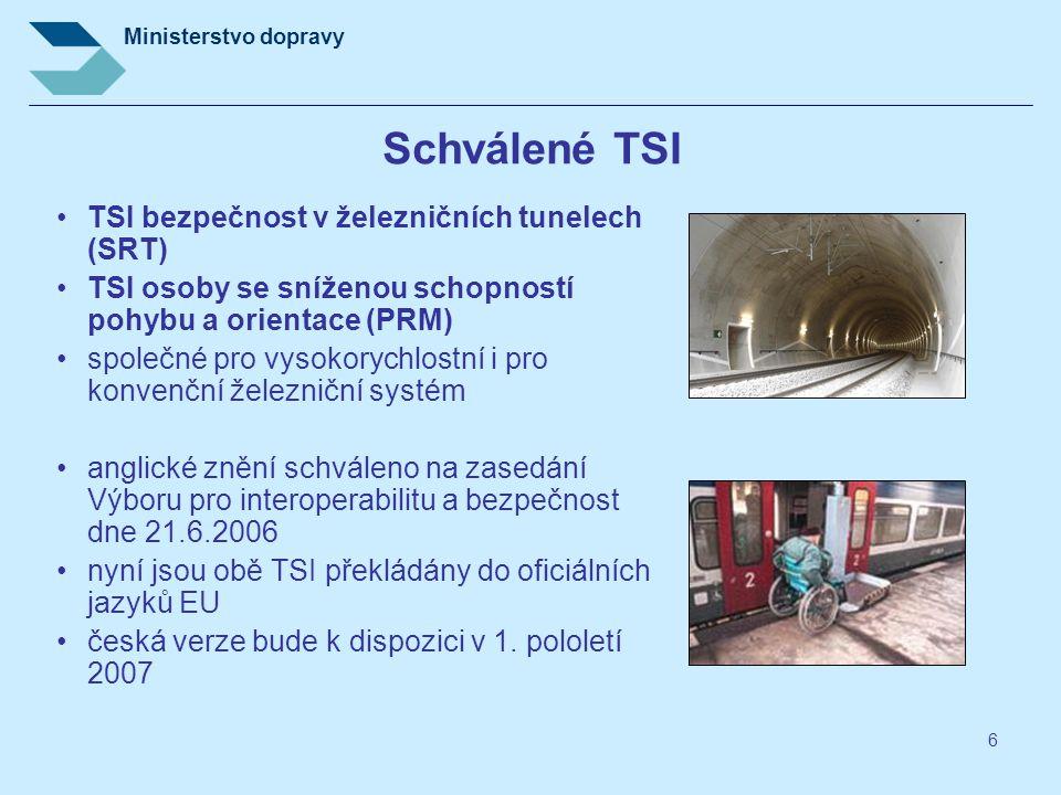 Schválené TSI TSI bezpečnost v železničních tunelech (SRT)