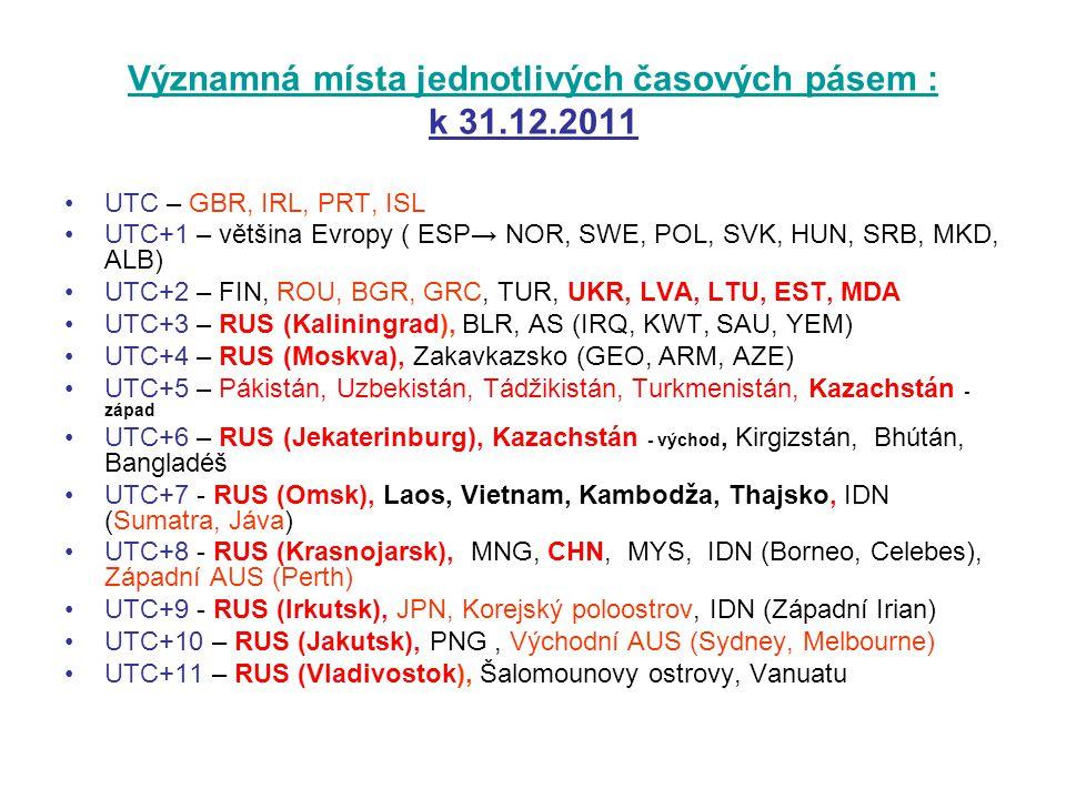 Významná místa jednotlivých časových pásem : k 31.12.2011