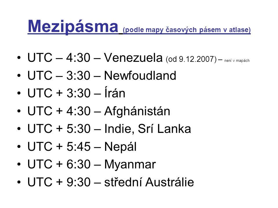 Mezipásma (podle mapy časových pásem v atlase)