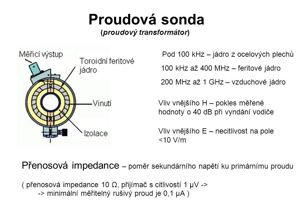 Proudová sonda (proudový transformátor) Pod 100 kHz – jádro z ocelových plechů. 100 kHz až 400 MHz – feritové jádro.