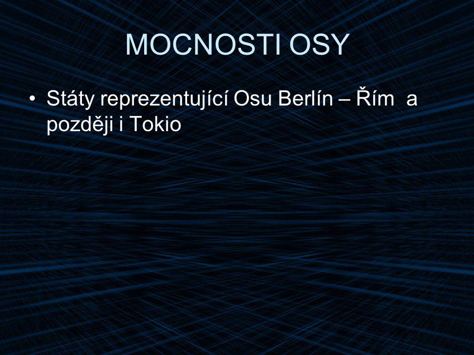MOCNOSTI OSY Státy reprezentující Osu Berlín – Řím a později i Tokio