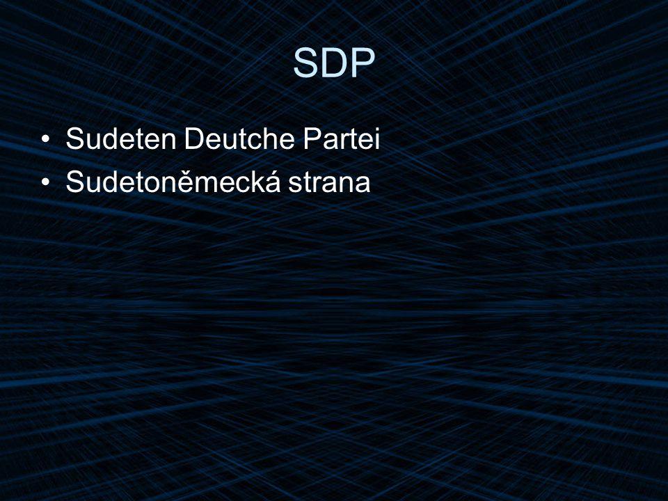 SDP Sudeten Deutche Partei Sudetoněmecká strana