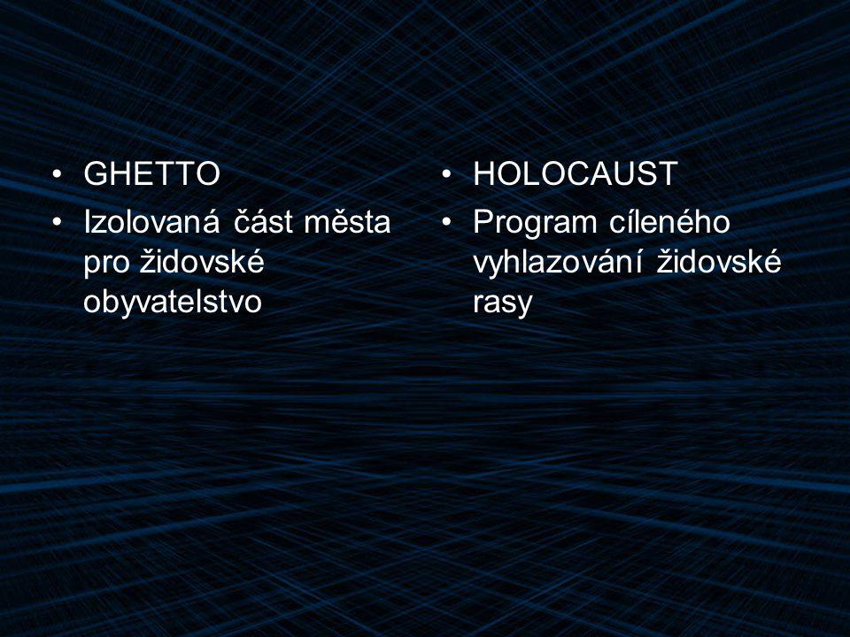 GHETTO Izolovaná část města pro židovské obyvatelstvo.