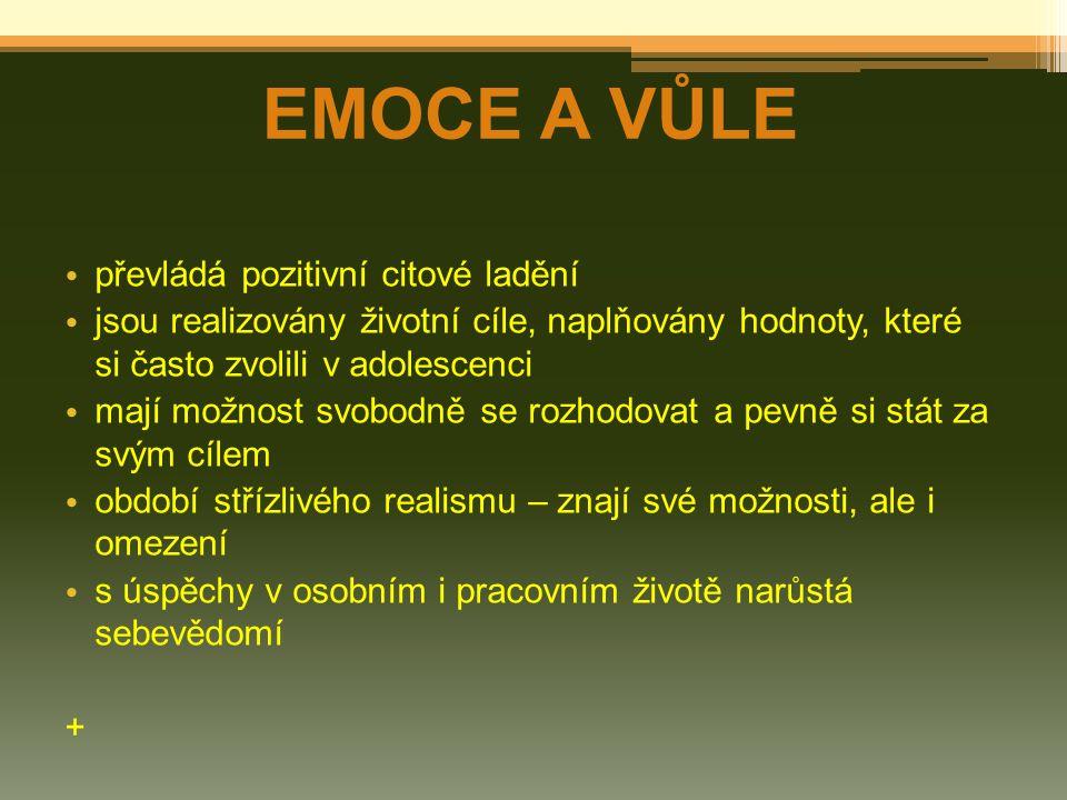 EMOCE A VŮLE převládá pozitivní citové ladění
