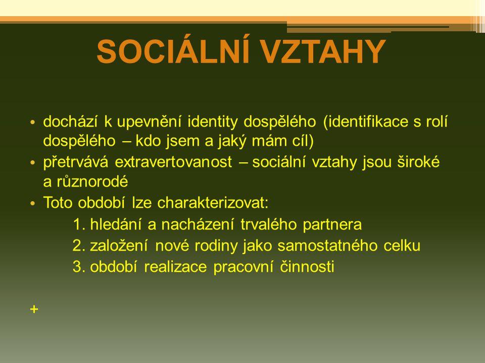 SOCIÁLNÍ VZTAHY dochází k upevnění identity dospělého (identifikace s rolí dospělého – kdo jsem a jaký mám cíl)