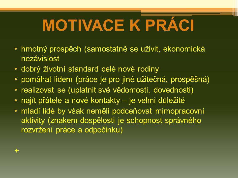 MOTIVACE K PRÁCI hmotný prospěch (samostatně se uživit, ekonomická nezávislost. dobrý životní standard celé nové rodiny.