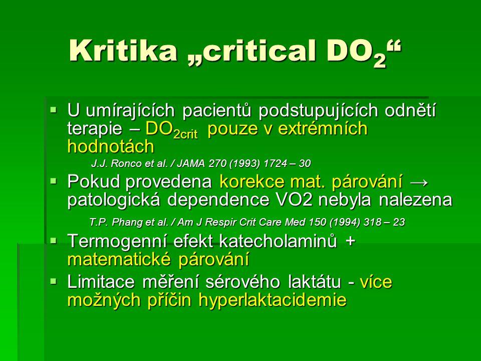 """Kritika """"critical DO2 U umírajících pacientů podstupujících odnětí terapie – DO2crit pouze v extrémních hodnotách."""