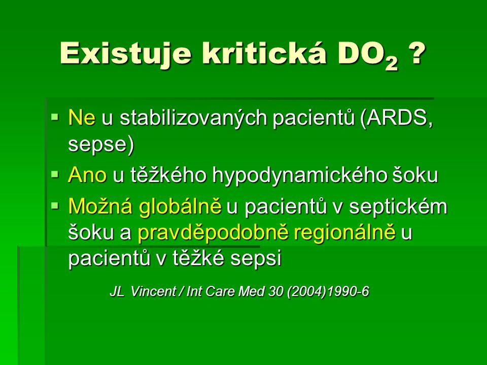 Existuje kritická DO2 Ne u stabilizovaných pacientů (ARDS, sepse)