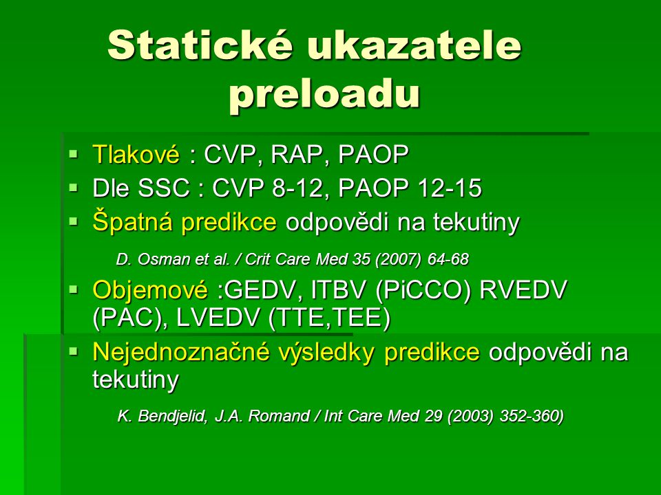 Statické ukazatele preloadu