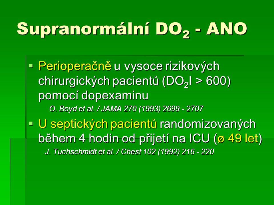 Supranormální DO2 - ANO Perioperačně u vysoce rizikových chirurgických pacientů (DO2I > 600) pomocí dopexaminu.