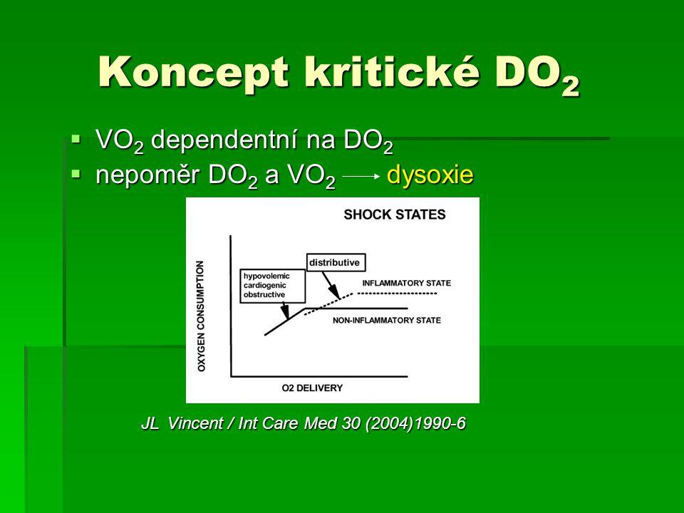 Koncept kritické DO2 VO2 dependentní na DO2 nepoměr DO2 a VO2 dysoxie