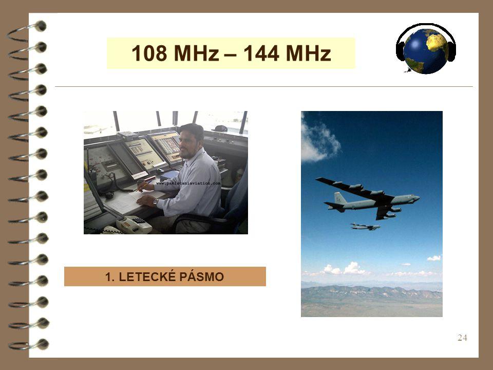 108 MHz – 144 MHz 1. LETECKÉ PÁSMO