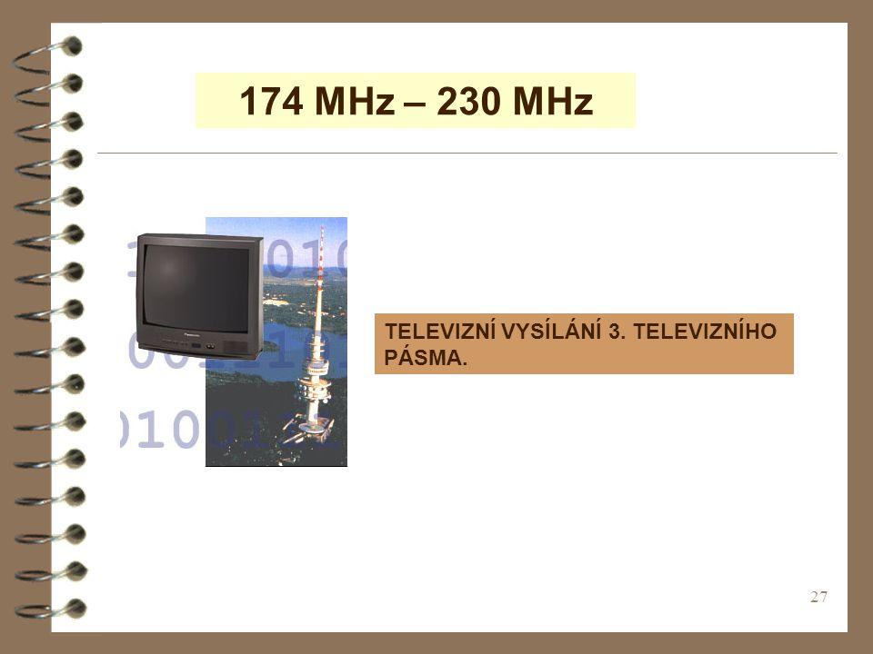 174 MHz – 230 MHz TELEVIZNÍ VYSÍLÁNÍ 3. TELEVIZNÍHO PÁSMA.