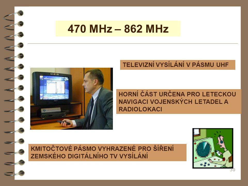 470 MHz – 862 MHz TELEVIZNÍ VYSÍLÁNÍ V PÁSMU UHF