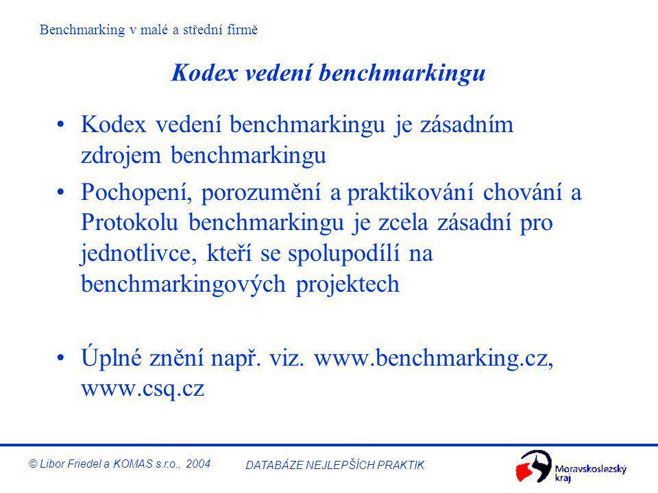 Kodex vedení benchmarkingu