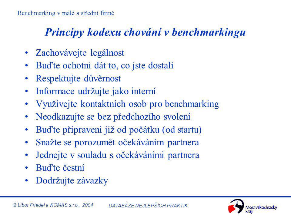 Principy kodexu chování v benchmarkingu