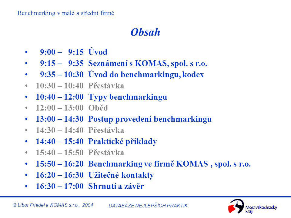 Obsah 9:00 – 9:15 Úvod 9:15 – 9:35 Seznámení s KOMAS, spol. s r.o.