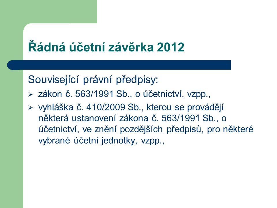 Řádná účetní závěrka 2012 Související právní předpisy: