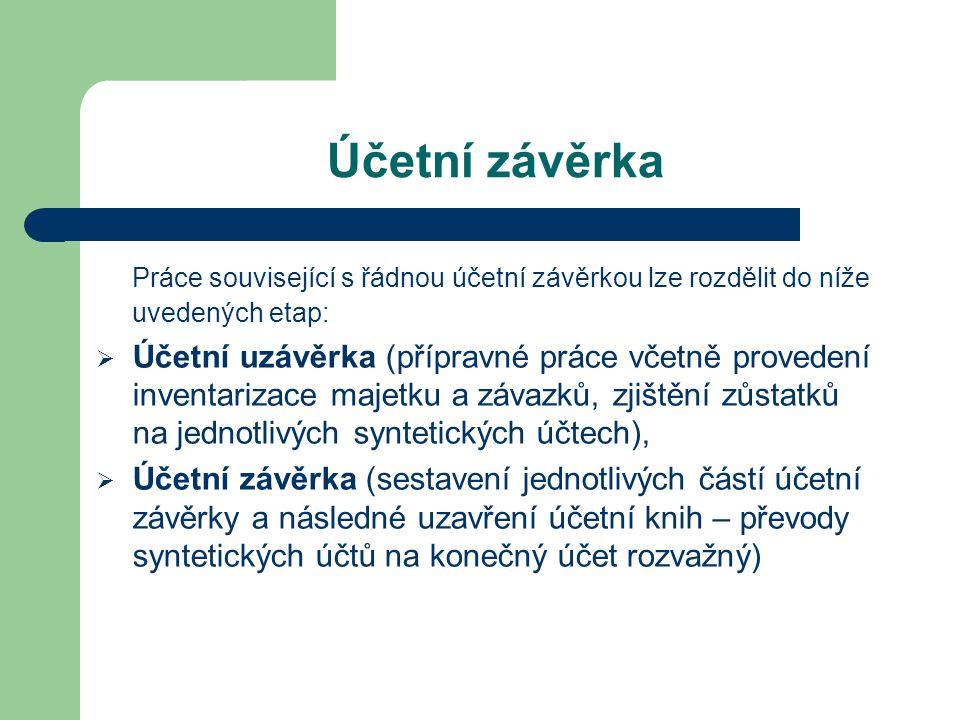 Účetní závěrka Práce související s řádnou účetní závěrkou lze rozdělit do níže uvedených etap: