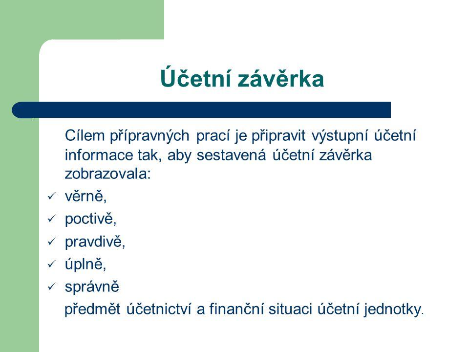 Účetní závěrka Cílem přípravných prací je připravit výstupní účetní informace tak, aby sestavená účetní závěrka zobrazovala: