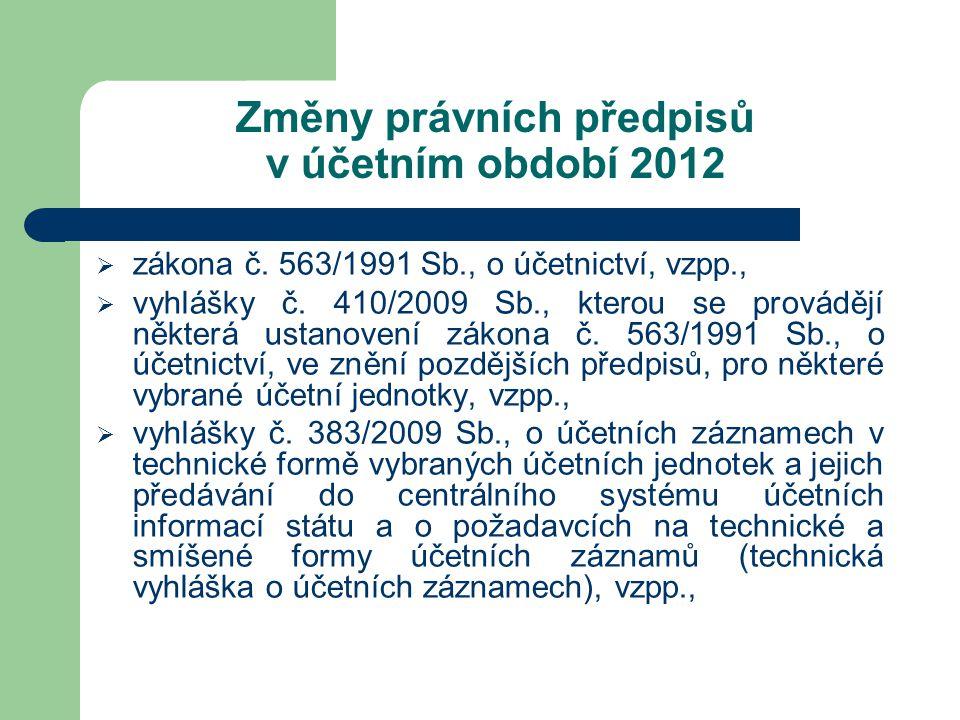 Změny právních předpisů v účetním období 2012