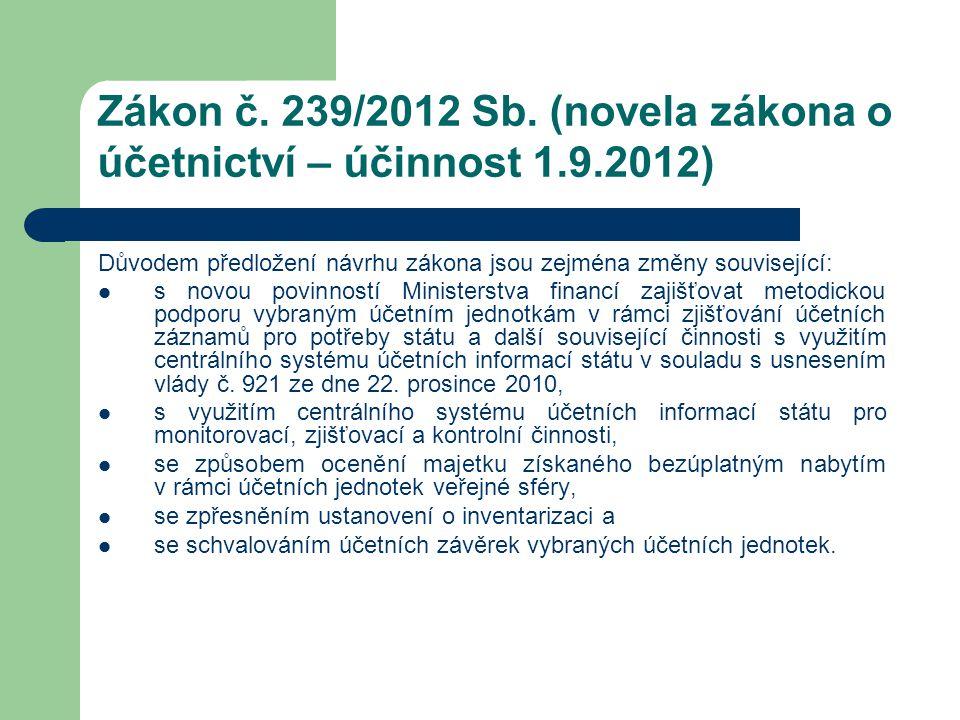 Zákon č. 239/2012 Sb. (novela zákona o účetnictví – účinnost 1.9.2012)