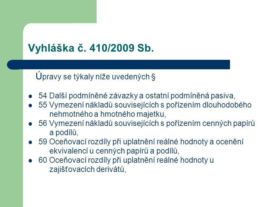 Vyhláška č. 410/2009 Sb. Úpravy se týkaly níže uvedených §