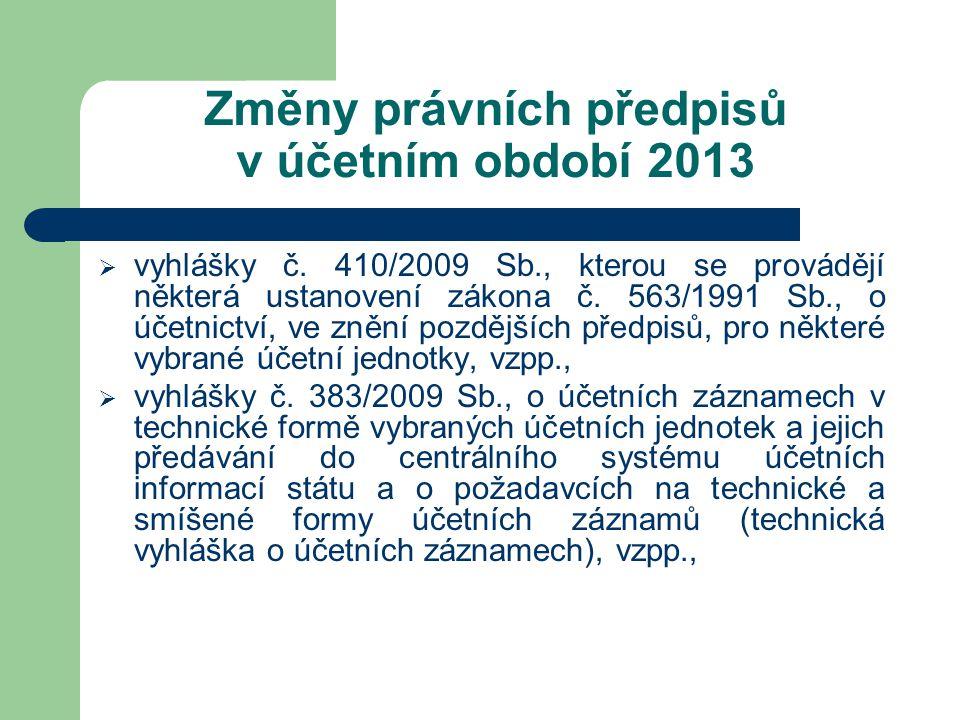 Změny právních předpisů v účetním období 2013