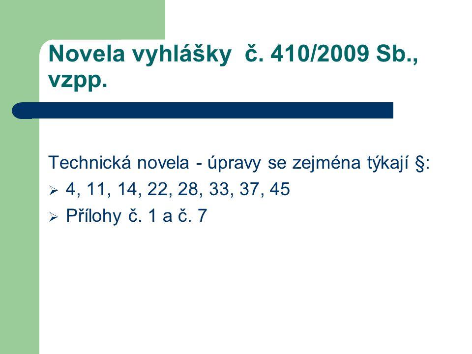 Novela vyhlášky č. 410/2009 Sb., vzpp.