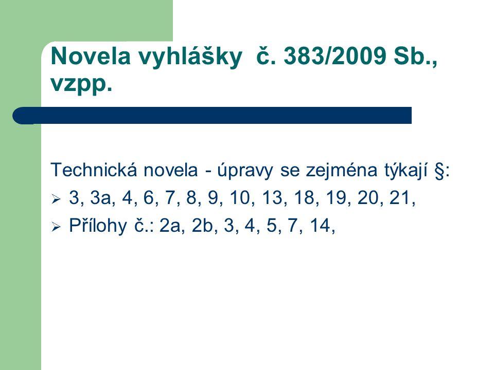 Novela vyhlášky č. 383/2009 Sb., vzpp.