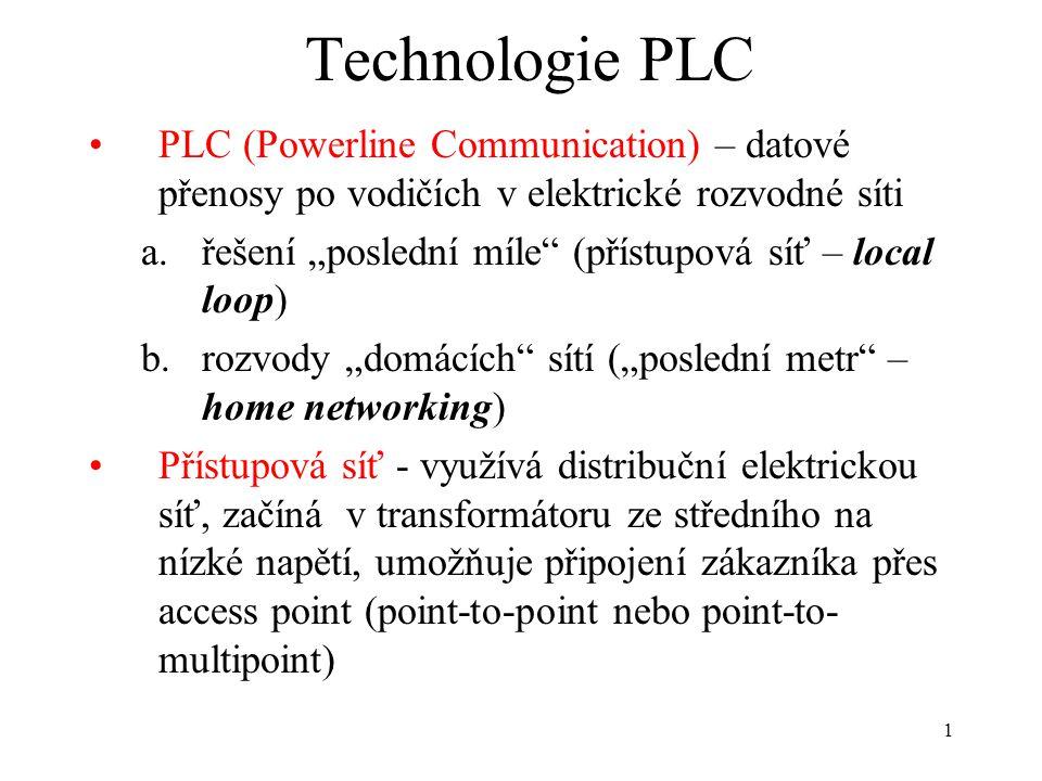 Technologie PLC PLC (Powerline Communication) – datové přenosy po vodičích v elektrické rozvodné síti.