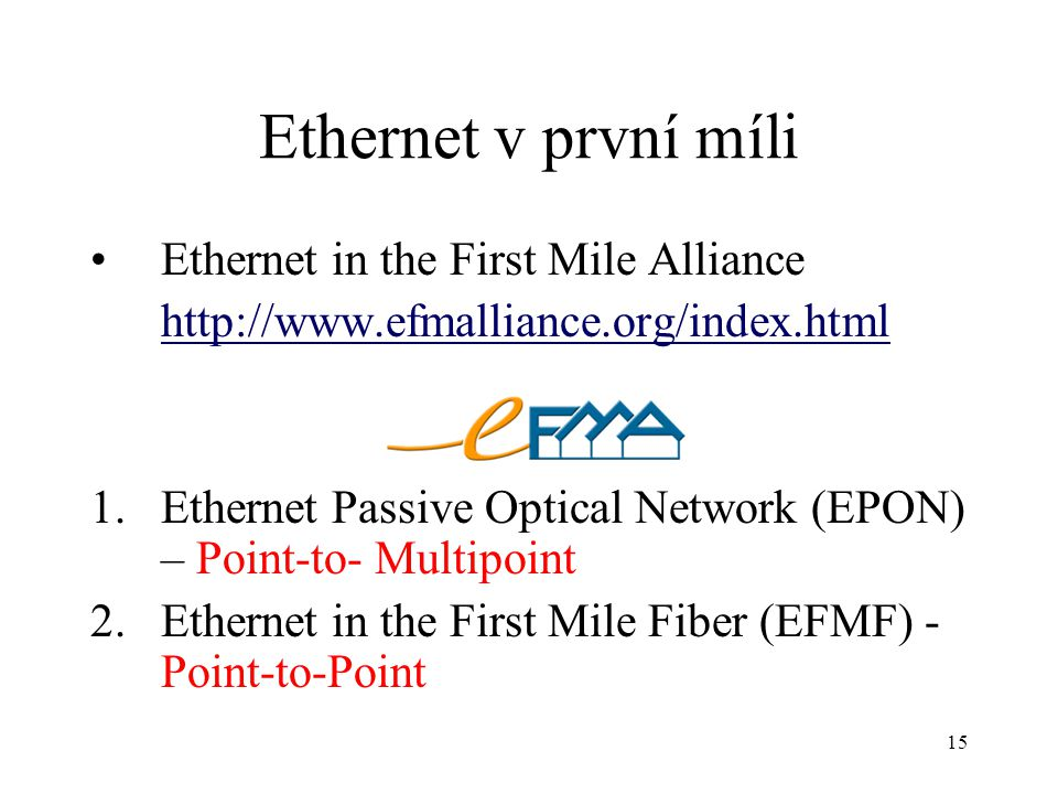 Ethernet v první míli Ethernet in the First Mile Alliance