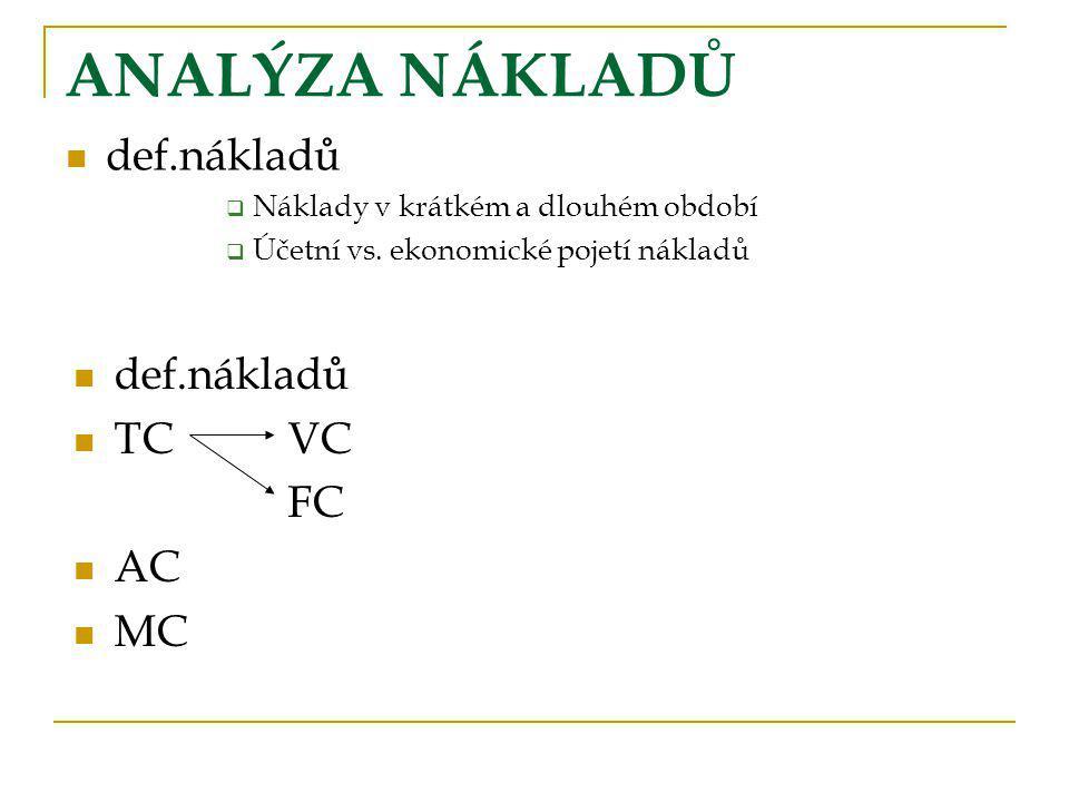 ANALÝZA NÁKLADŮ def.nákladů def.nákladů TC VC FC AC MC