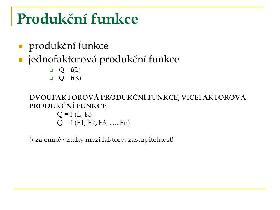 Produkční funkce produkční funkce jednofaktorová produkční funkce