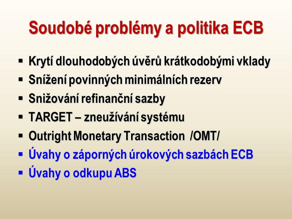 Soudobé problémy a politika ECB