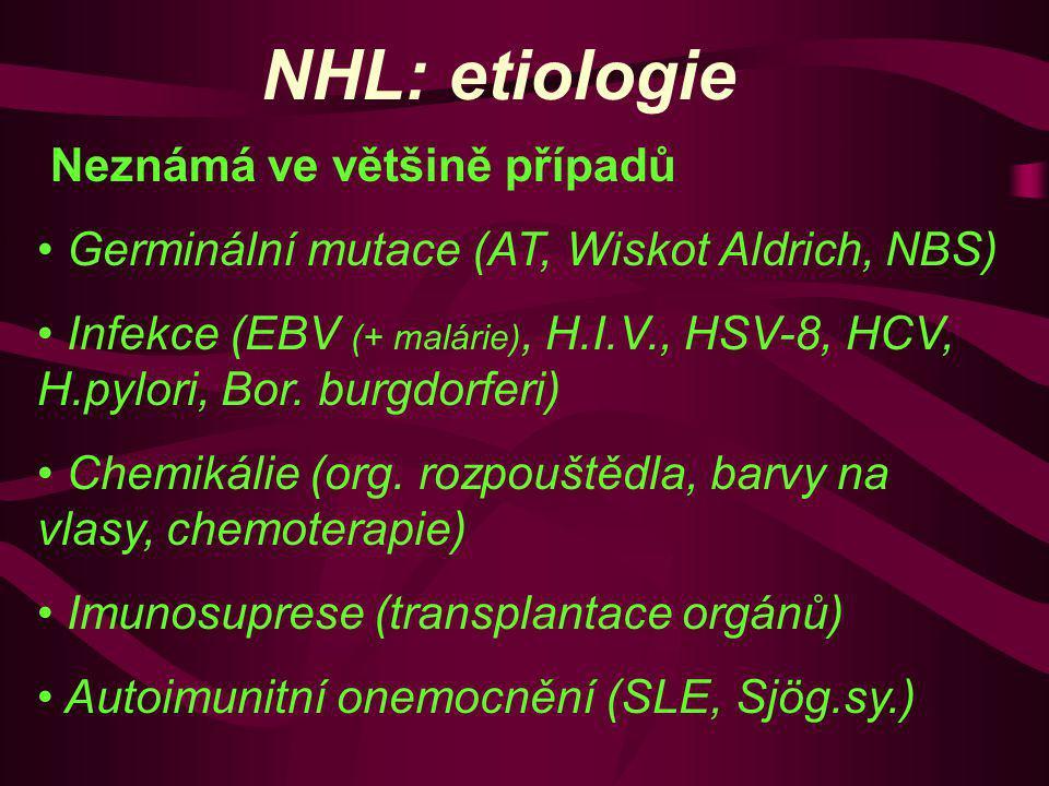 NHL: etiologie Neznámá ve většině případů