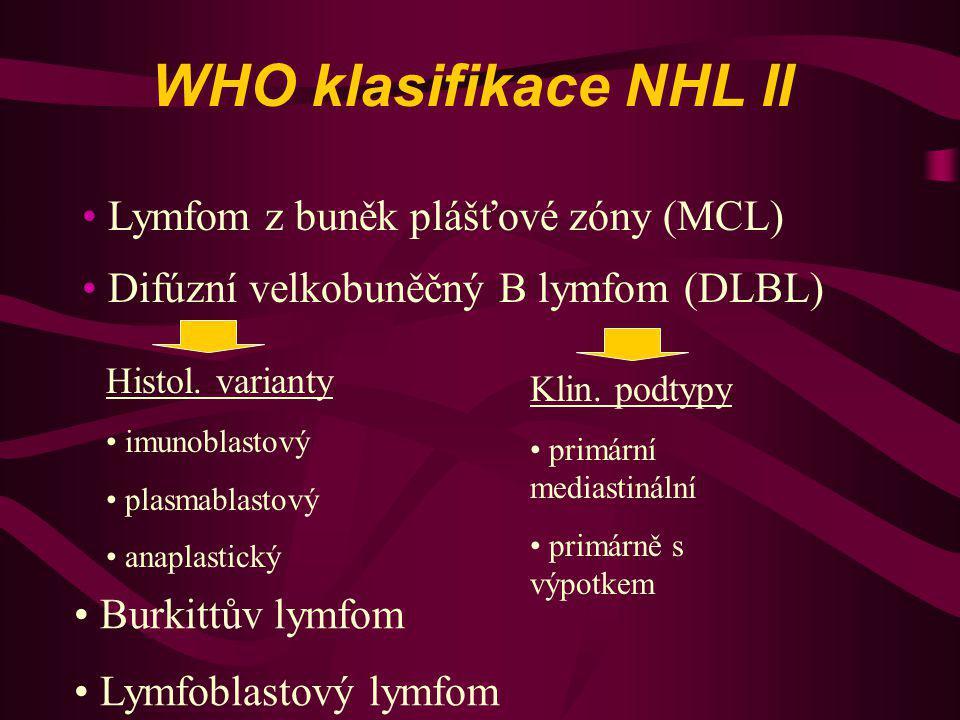WHO klasifikace NHL II Lymfom z buněk plášťové zóny (MCL)