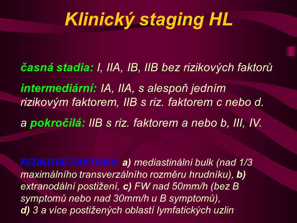Klinický staging HL časná stadia: I, IIA, IB, IIB bez rizikových faktorů.