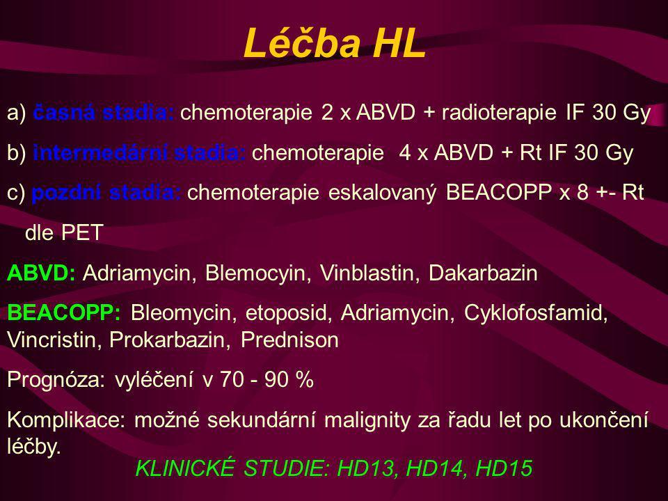 Léčba HL a) časná stadia: chemoterapie 2 x ABVD + radioterapie IF 30 Gy. b) intermedární stadia: chemoterapie 4 x ABVD + Rt IF 30 Gy.