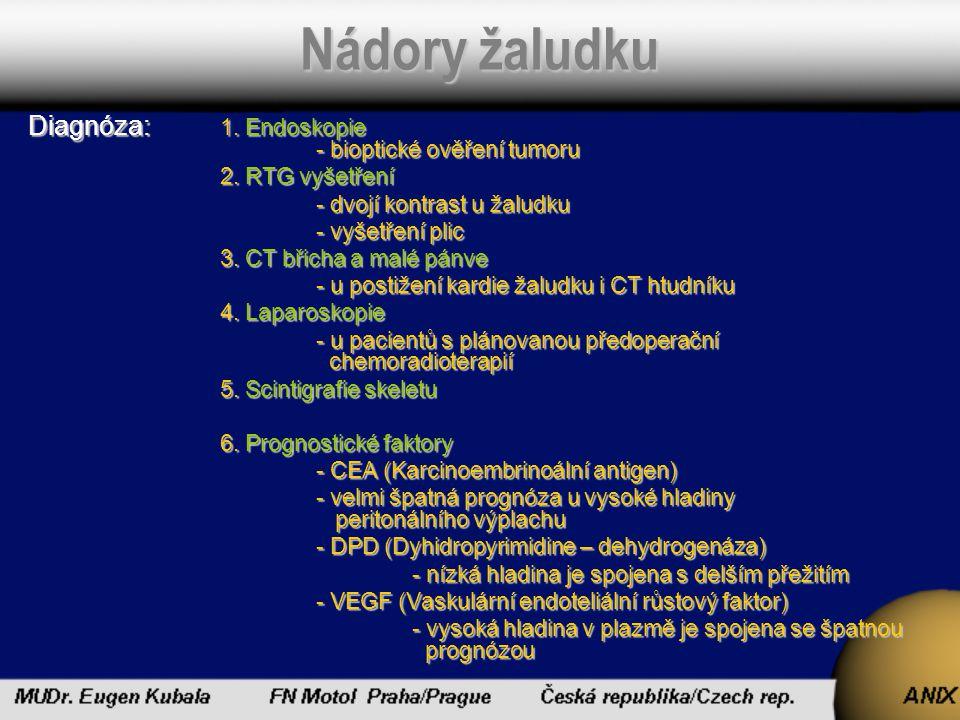 Nádory žaludku Diagnóza: 1. Endoskopie - bioptické ověření tumoru