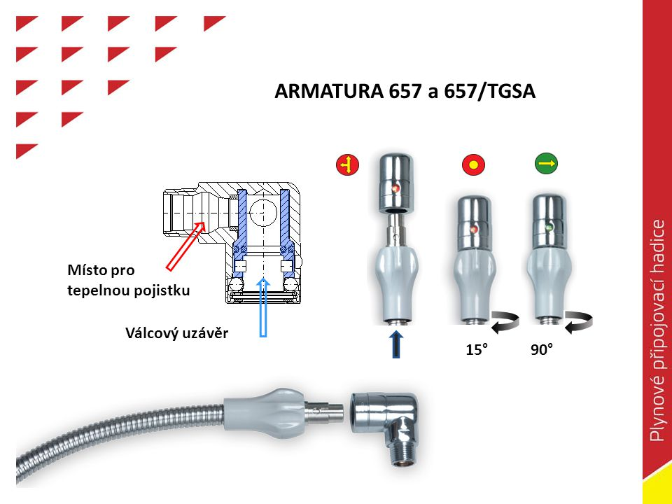 ARMATURA 657 a 657/TGSA Místo pro tepelnou pojistku Válcový uzávěr