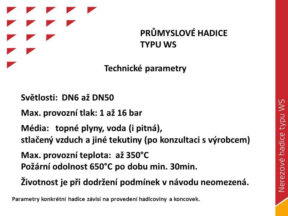 Max. provozní tlak: 1 až 16 bar Média: topné plyny, voda (i pitná),
