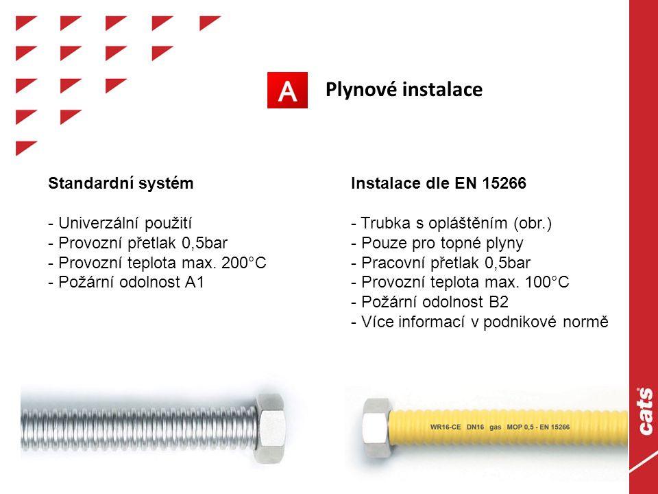 Plynové instalace Standardní systém - Univerzální použití