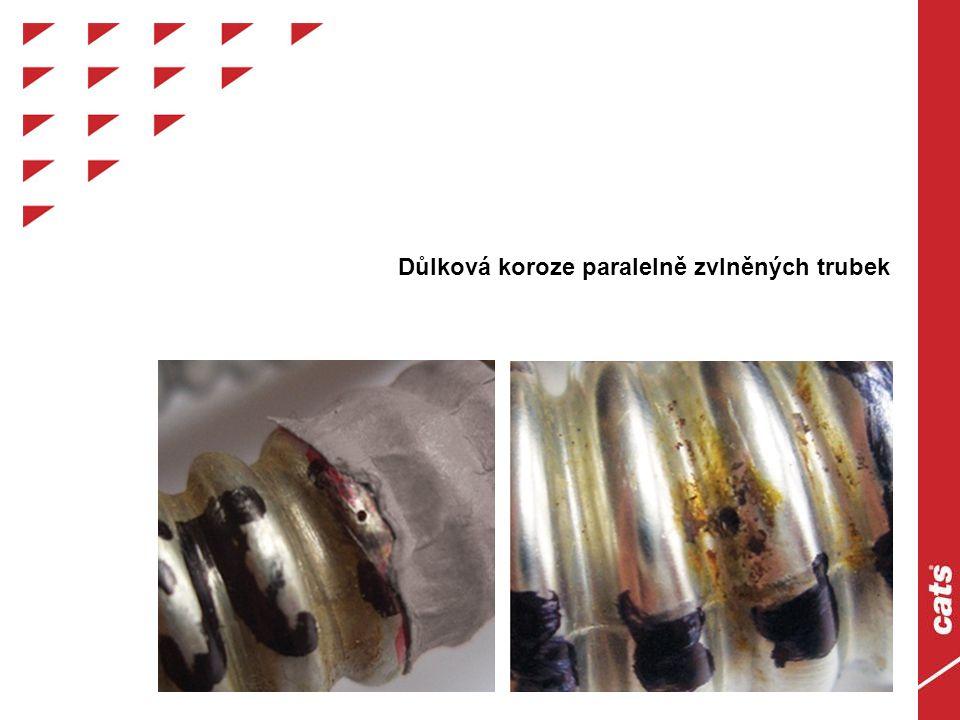 Důlková koroze paralelně zvlněných trubek