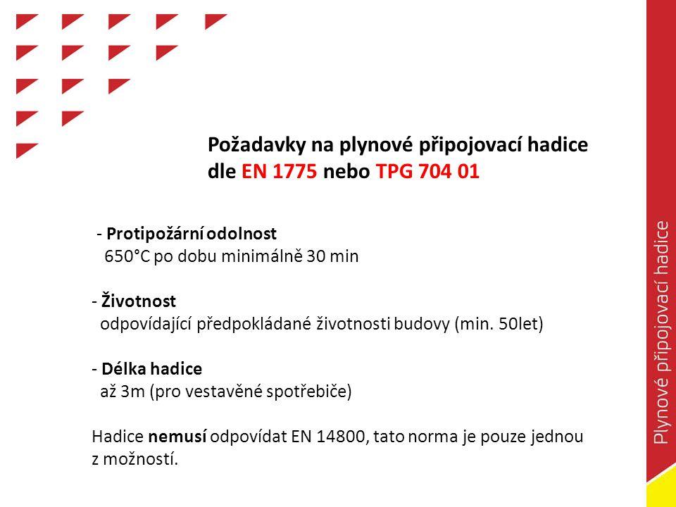 Požadavky na plynové připojovací hadice dle EN 1775 nebo TPG 704 01