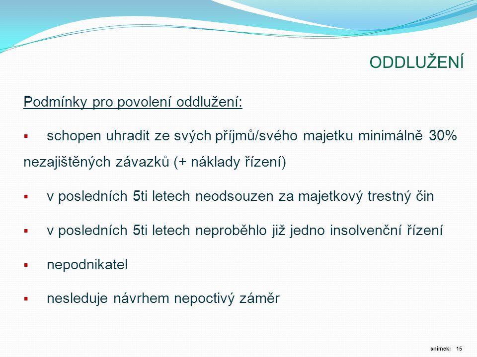 ODDLUŽENÍ Podmínky pro povolení oddlužení: