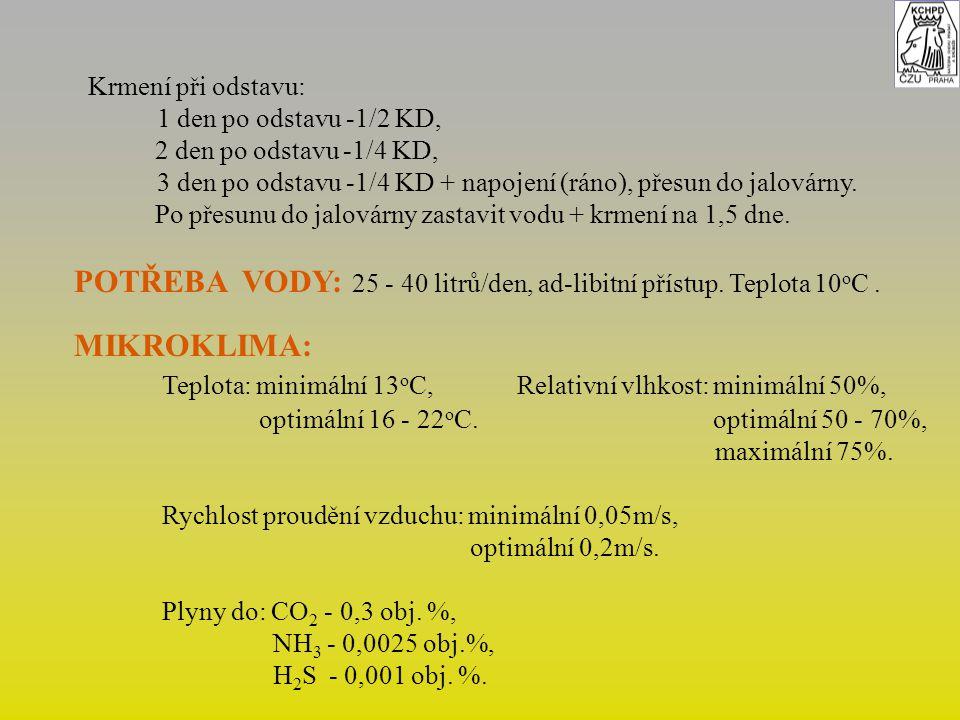 POTŘEBA VODY: 25 - 40 litrů/den, ad-libitní přístup. Teplota 10oC .