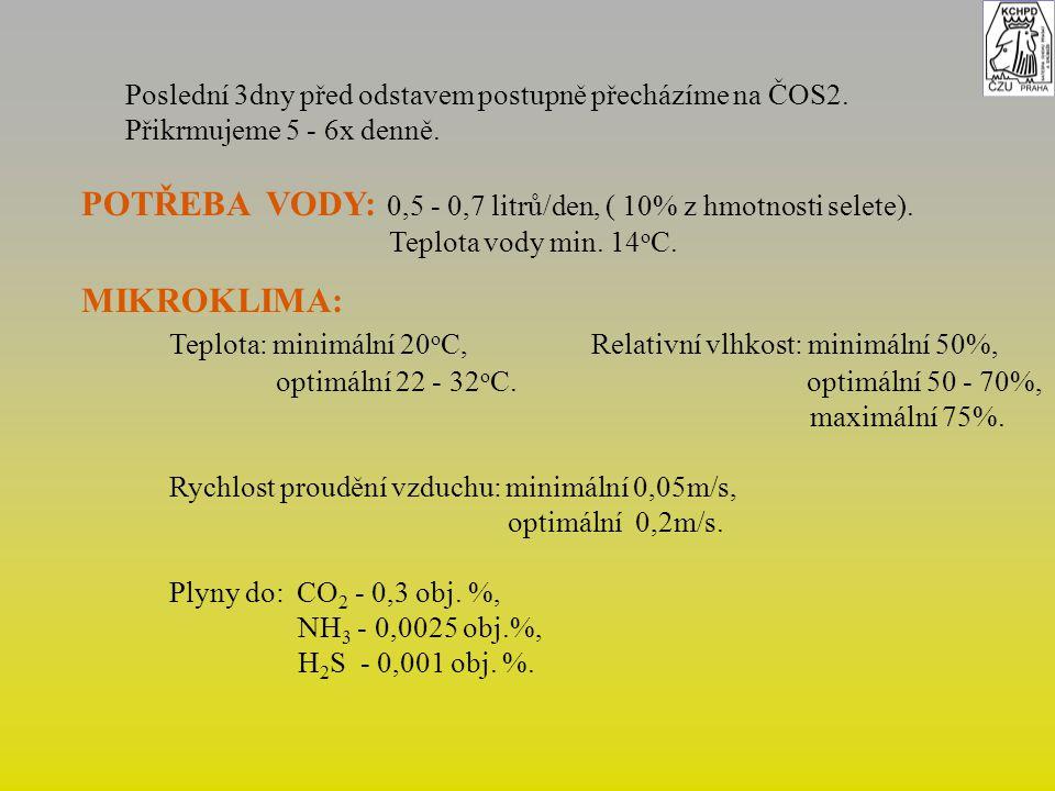 POTŘEBA VODY: 0,5 - 0,7 litrů/den, ( 10% z hmotnosti selete).
